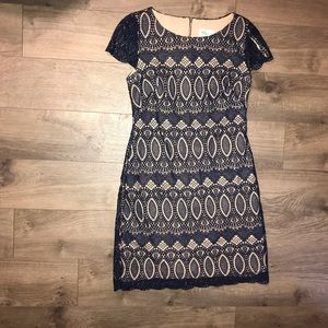Navy lace overlay dress
